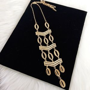 Jewelry - Boho Maxi Long Gold Hollow Hoop Necklace NWOT 0064